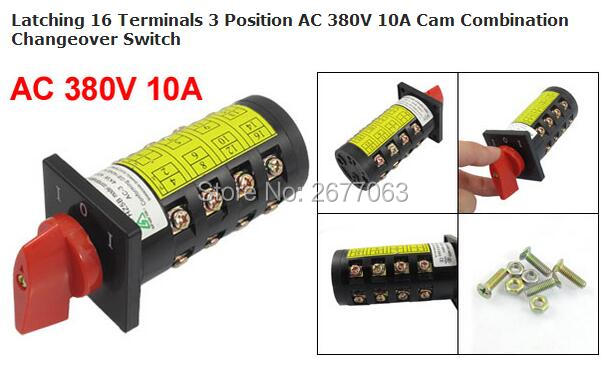 цена на Latching 16 Terminals 3 Position AC 380V 10A Cam Combination Changeover Switch
