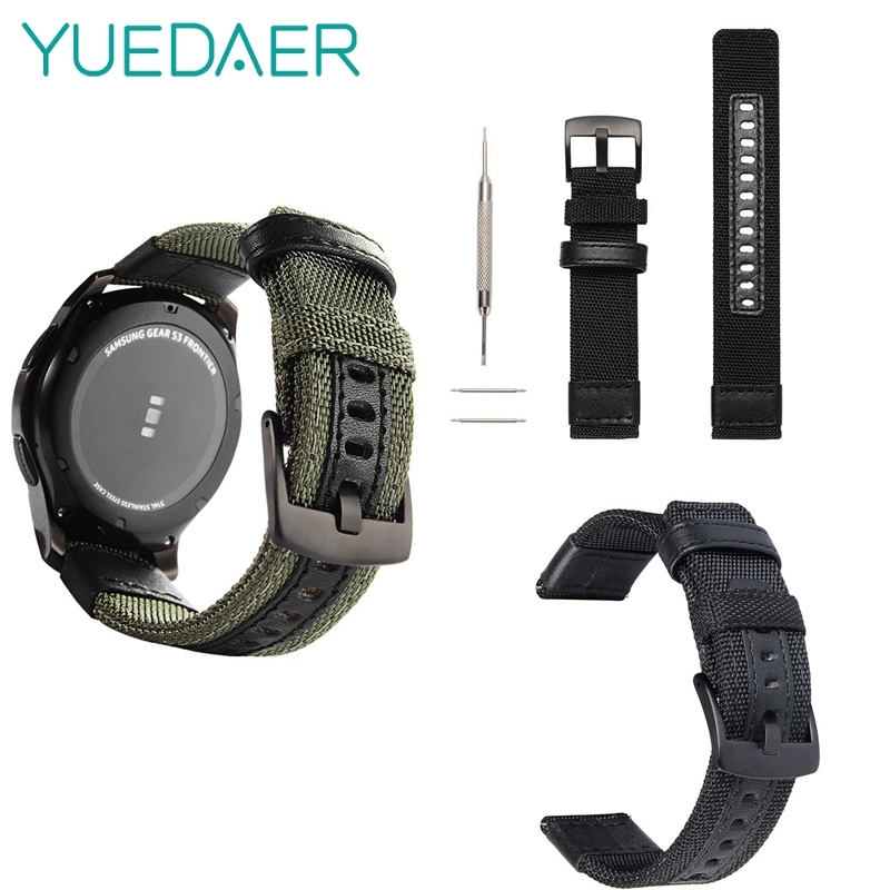 Yuedaer Wrist Strap For Samsung Gear S3 22mm Nylon Leather Watch Band For Ticwatch 1 For Xiaomi Huami Amazfit 1/2/2S Replacement leather replacement wrist band strap for xiaomi huami amazfit smartwatch 2 2s