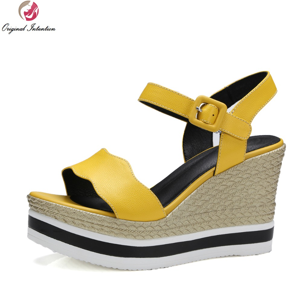 Womens sandals wedges - Original Intention Women Sandals 2017 Nice Cow Leather Wedges Sandals High Quality White Yellow Shoes