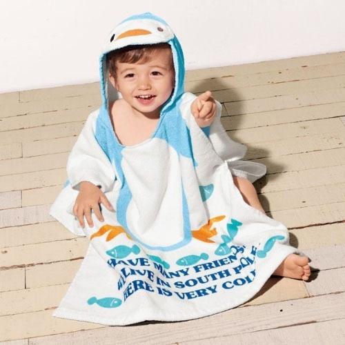 Розничная ; детское банное полотенце с капюшоном с принтом животных; купальный халат для младенцев; модельный детский банный Халат - Цвет: blue peguin