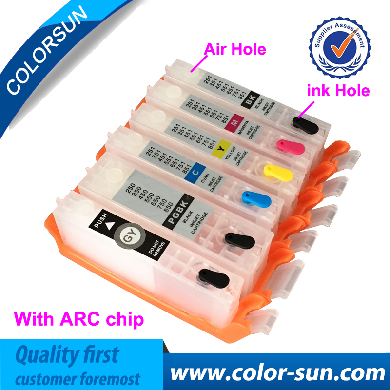 6pcs for Canon BCI 370 BCI 371 BCI371 Refillable Ink Cartridge For Canon PIXMA MG7730 MG6930