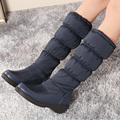 Más el Tamaño 35-44 de Gran Tamaño de Invierno Mujeres Nieve Botas de Mujer Impermeable de Esquí de Algodón acolchado Botas Cálidas Zapatos plataforma de La Rodilla Botas Altas