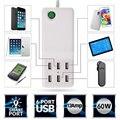 5 V 12A 60 W Universal 6 Portas USB Parede Início de Viagem Carregador Rápido Inteligente com Tecnologia de Detecção Automática para todos os Telefones
