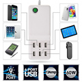 5V 12A 60W Universal 6 Port  USB Wall Home Travel Intelligent Fast Charger with Auto Detect Technology for all Phones