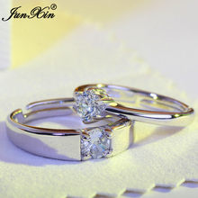 91f06b34c3de JUNXIN un par de anillos de boda blancos de cristal conjunto de joyería de  moda de lujo para hombres y mujeres 925 anillos de pl.