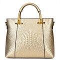 Famosa marca de luxo Bolsa de Couro PU 2015 Europeus e Americanos de high-end weave padrão Bolsa de Ouro nobre Crossbody saco