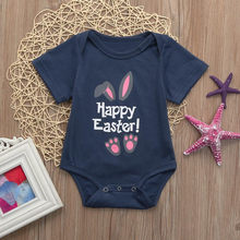 Fashion Baby Bodysuits Infant Baby Boys Girls Easter Letter Cartoon Rabbit Print Short Sleeve Bodysuit Jumpsuit Outfit(China)