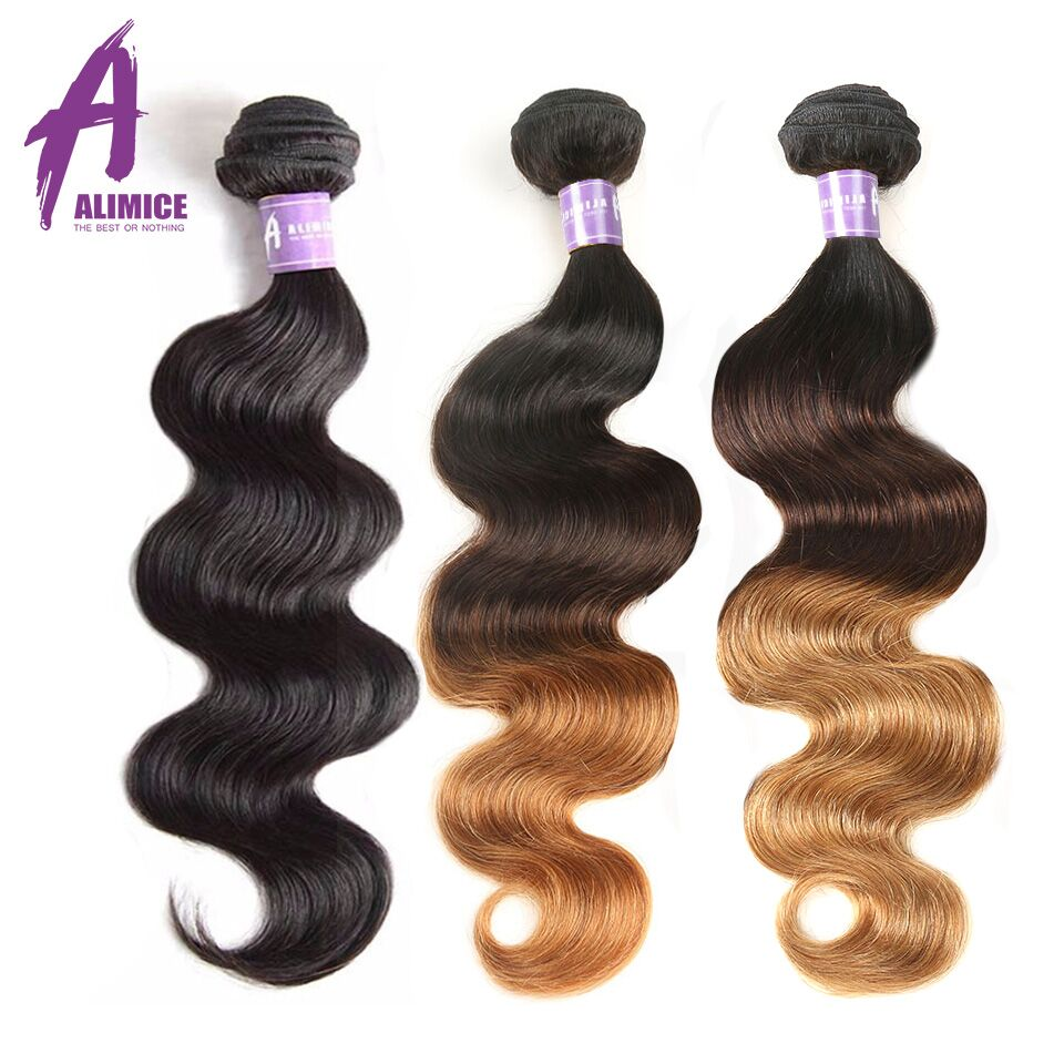 Alimice Hair Malaysian Body Wave Hair Extension Non-Remy Hair 100% - Human Hair (For Black)