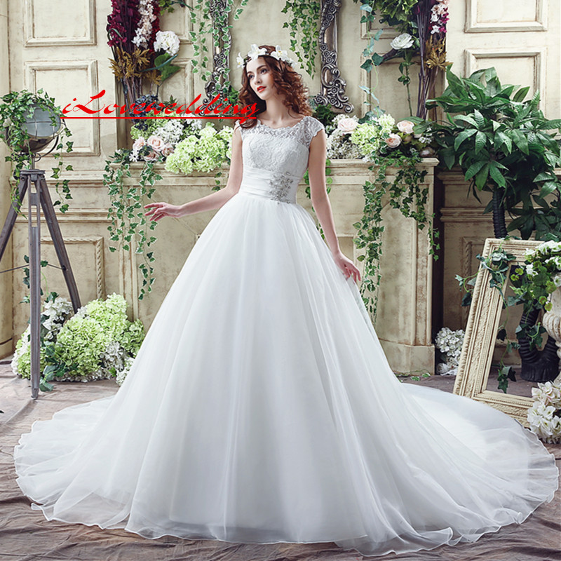 Amazing Floral Lace Wedding Dresses for Women In Stock 2017 Cap Sleeve Organza Court Train Beaded Bridal Gowns Cheap A Line