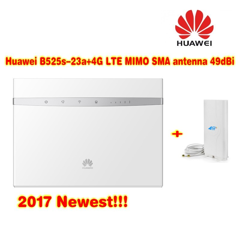 Unlock 300Mbps Huawei B525 4G LTE Cat6 CPE Wireless Router plus 4g indoor high gain antenna