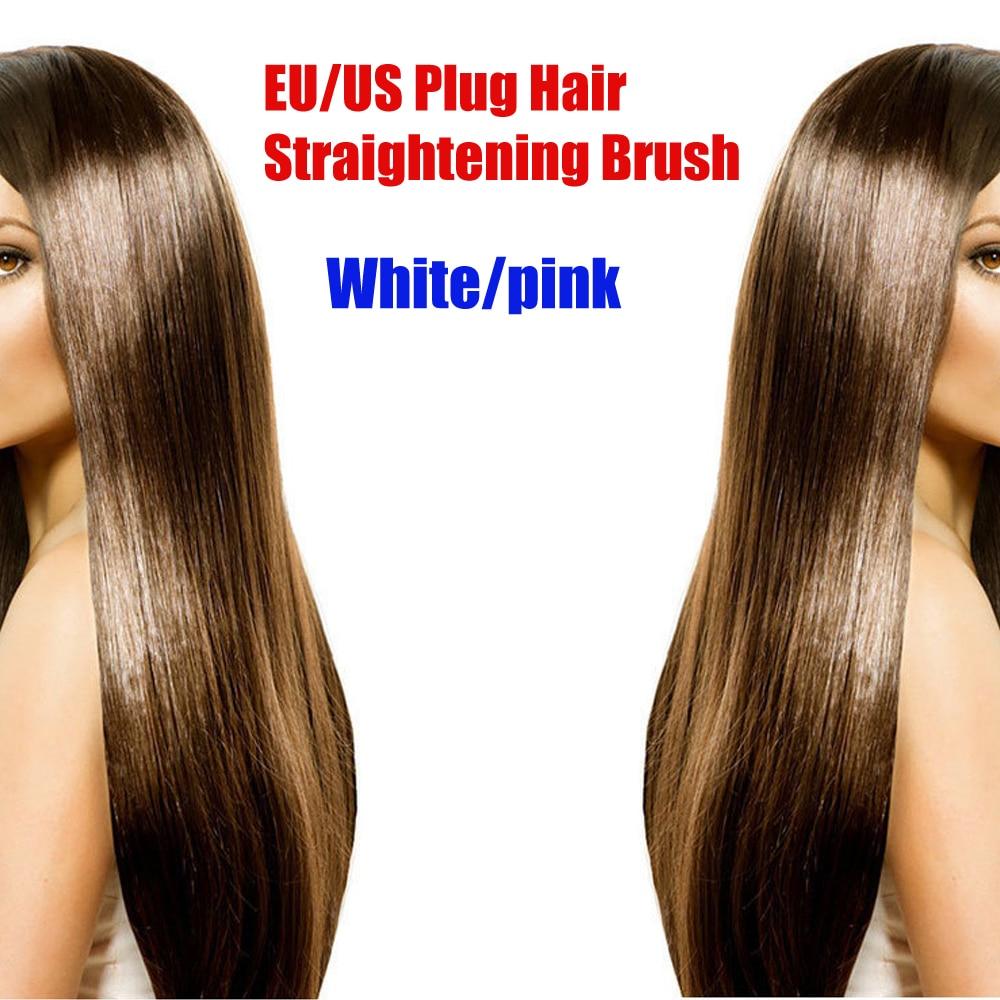 Beleza elétrica pente alisador de cabelo escova Display LCD para cabelos lisos EU Plug novo