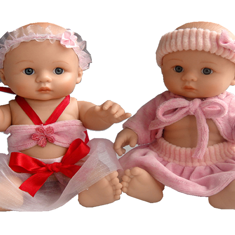 Silicone Reborn Baby Dolls Lovely Twins Full Vinyl Lifelike Dolls 8 Inch Mini Newborn Babies Toy For Kids Birthday Xmas Gift 10pcs kitchen cabinet handles and knobs black furniture handle for kitchen cabinet drawer pull single hole 64mm 96mm 128mm