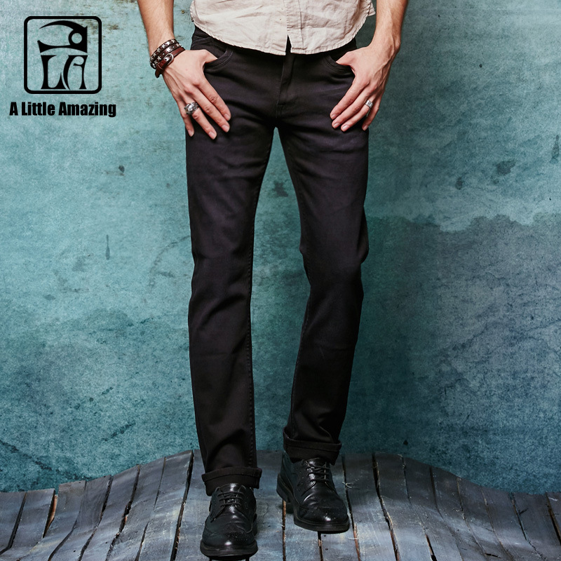 2017 Autumn New Arrival High Stretch Black Denim Mens Jeans Slim Straight Stonewashed Jeans Casual Pants 145030-1