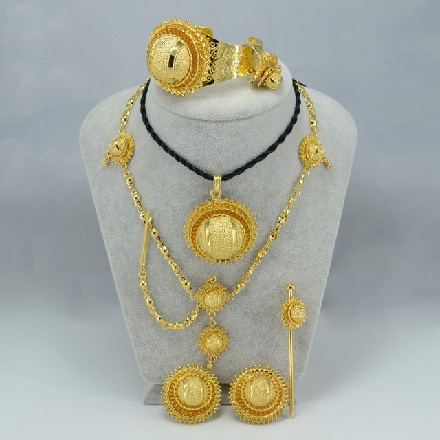 Ethiopian Jewelry set Yellow Gold Plated Eritrea Habesha sets Ethiopia Traditional Jewellery African Best Wedding Gift #000715