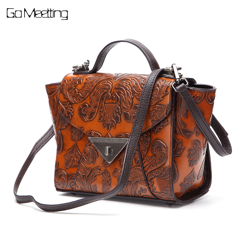 Brand Genuine Leather Women Shoulder Bag Vintage Brush Color embossed craft handbags portable Trapeze hand bag Crossbody bags цена и фото