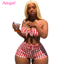 Adogirl Paid Women Casual Two Piece Set Front Tie Sexy Bra Top + Shorts Tracksuit Night Club Outfits Summer Bathing Suit