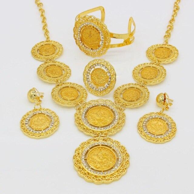 Adixyn Color Oro Turchia Monete Collana/Orecchino/Anello/Braccialetto Big Coin Jewelry Set Per Le Donne Arabo/Regali di Cerimonia Nuziale Nuziale africana