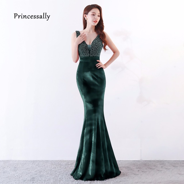 cb051797e22 Robe De Soriee Sexy Velour Mermaid Evening Dress Backless Handmade Beading  Elegant Formal Bride Evening Prom Party Gown Fiesta