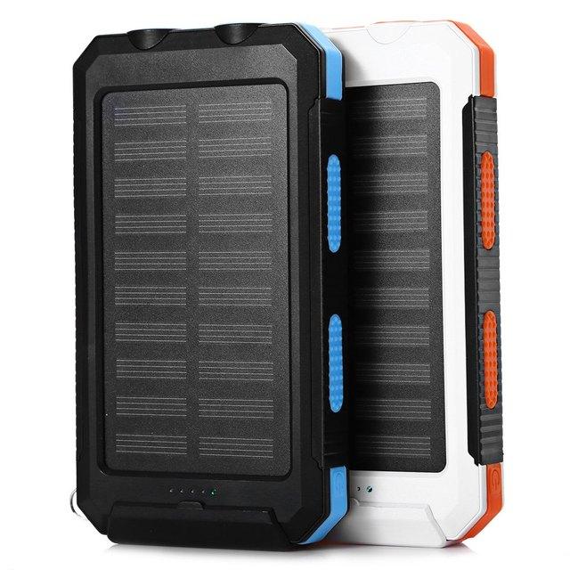 20000 mah cargador de batería solar del banco de la energía impermeable brújula doble lámpara de luz dual usb para el iphone samsung universal smartphones