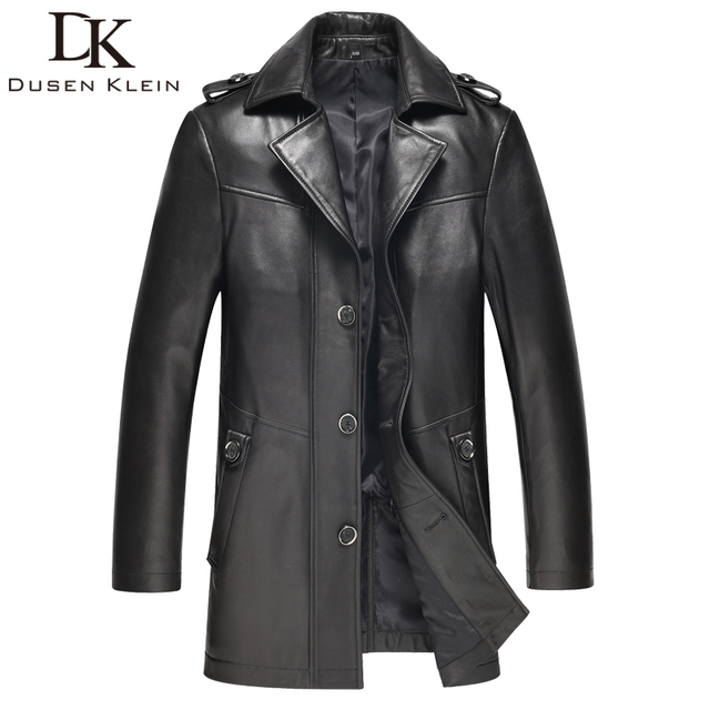 2016 Brand leather jacket men Slim design Luxury male spring leather Coat Genuine sheepskin 61I1503