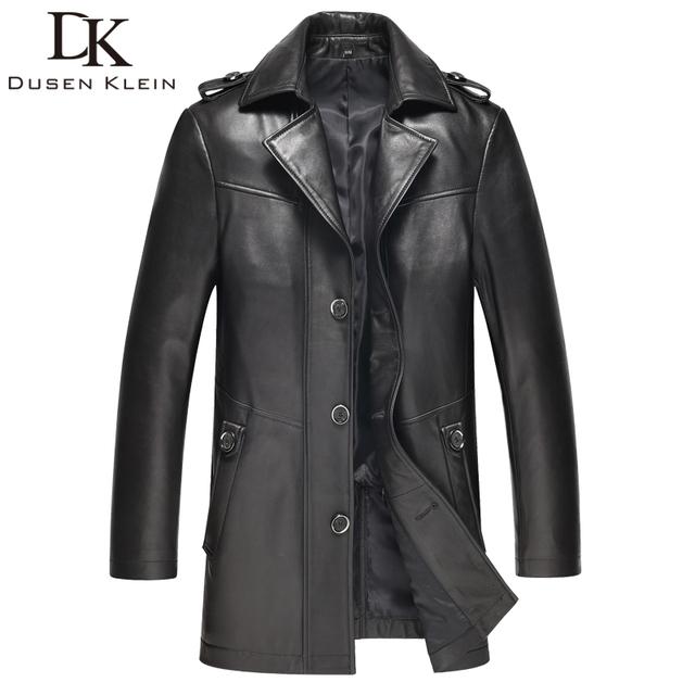 2016 Marca hombres de la chaqueta de cuero Delgado diseño de Lujo Abrigo de cuero de piel de oveja Genuina masculina primavera 61I1503