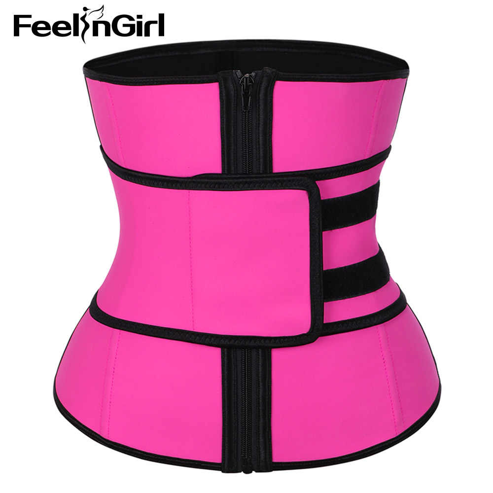 070466c255 ... FeelinGirl High Compression Zipper Latex Waist Trainer Belt Plus Size  Slimming Waist Cincher Girdle Firm Control ...