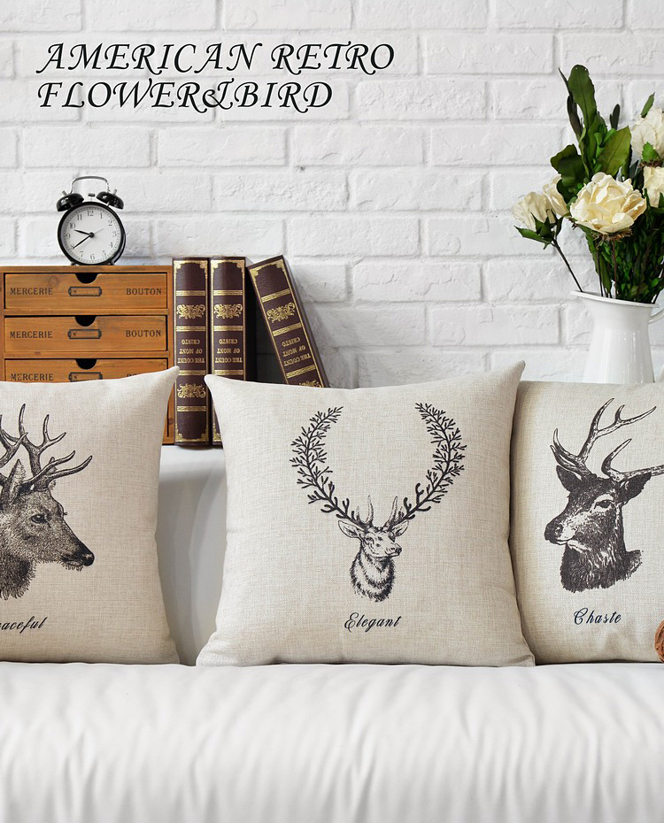 Nordic Stag Deer Elk Head Cushion Cover Linen Scandinavian Throw Pillow Case Animal Home Sofa ...