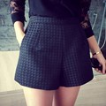 Korean 2016 Summer Women Casual Plaid Shorts Fashion New High Waist Solid Color Back Zipper Loose Beach Large Size Shorts
