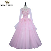 NOBLE WEISS Pink Quinceanera Dress for 15 year Girl Ball Gown Sheer Scoop Neck Applique Lace Quinceanera Gowns With Long Sleeves