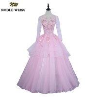 e45fd0bb02b76c NOBLE WEISS Pink Quinceanera Dress For 15 Year Girl Ball Gown Sheer Scoop  Neck Applique Lace. Bekijk Aanbieding. HSDYQHOME Quinceanera Jurk ...