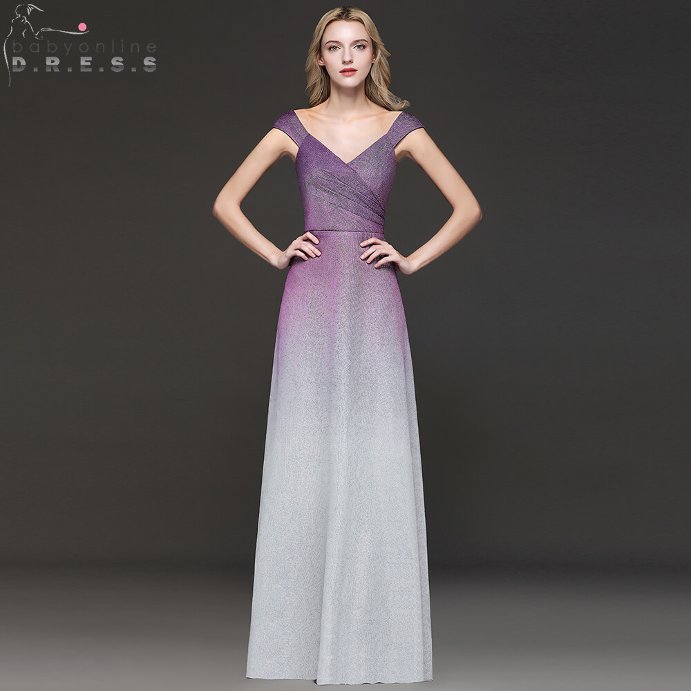 Sexy Open back Ombre Prom Dresses Long 2019 Elegant Cap Sleeve Bright Silk Purple Prom Gowns