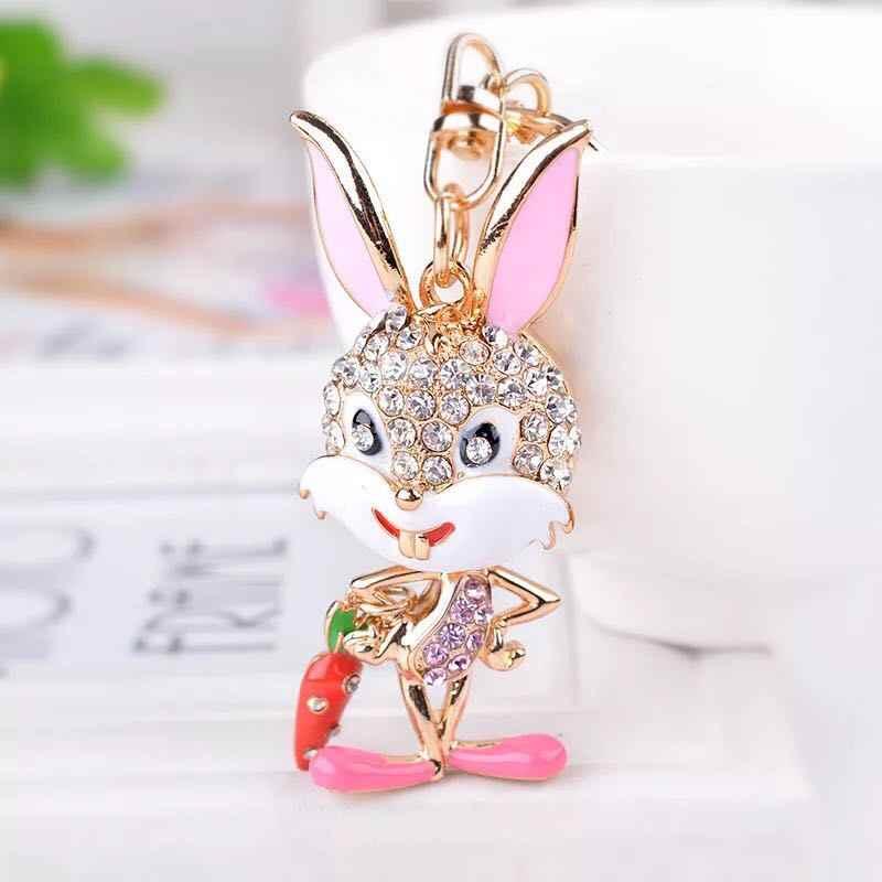 Moda strass chaveiro coelho bonito do coelho dos desenhos animados impertinente carro Charme chaveiro saco do anel chave pingente de metal