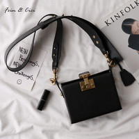 100% genuine leather mini messenger bag large belt Strap You flat bag 2017 autumn winter new black brown rose red color