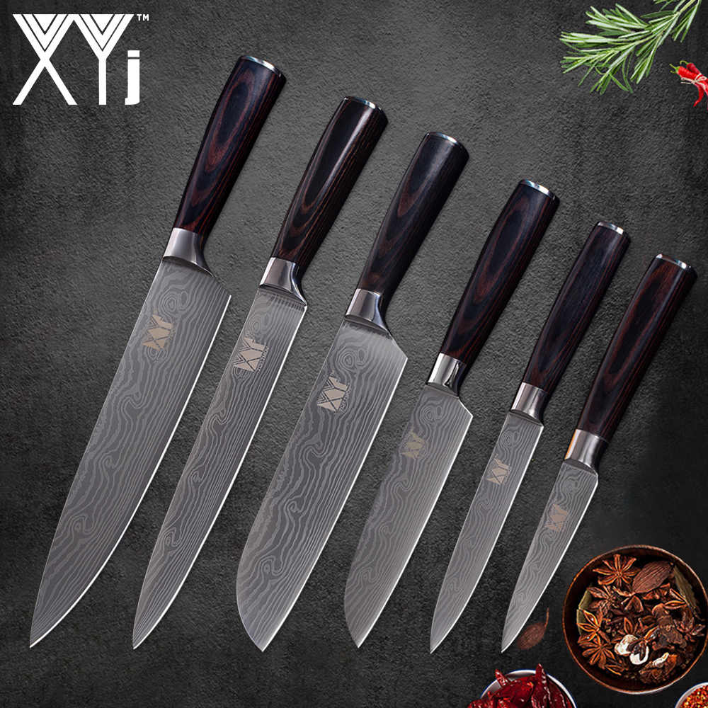 XYj  Stainless Steel Damascus Pattern Blade Color Wood Handle Kitchen Knives 6pcs 3.5,5,5,7,8,8 inch Fruit Meat Cooking Tools