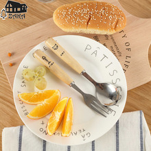 New arrival Zakka Nordic style cute beech wood handle stainless steel spoons forks Home fruit salad fork Kitchen Tools