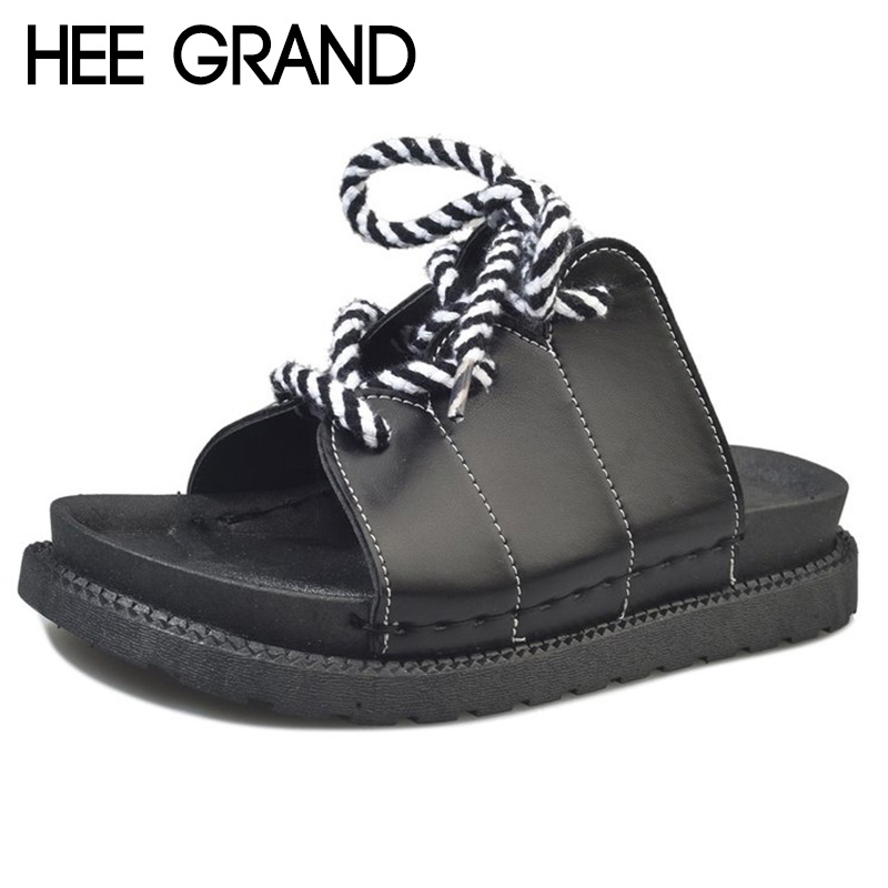 HEE GRAND Women 2018 New Slippers Fashion Causal Slide with Lace-up adjust Sandals Flip Flop Platform Slides XWZ4862