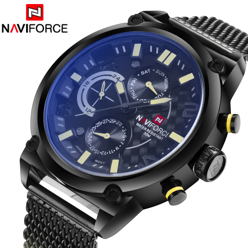 2016 Top Brand Naviforce Fashion Men Sports Watches Stainless Steel Quartz Watch Auto Date Army Military Waterproof Wrist watch geeekthink top brand quartz watch men s fashion full stainless steel casual wrist watches imported movement waterproof date week