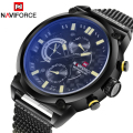 2016 Top Brand Naviforce Fashion Men Sports Watches Stainless Steel Quartz Watch Auto Date Army Military Waterproof Wrist watch