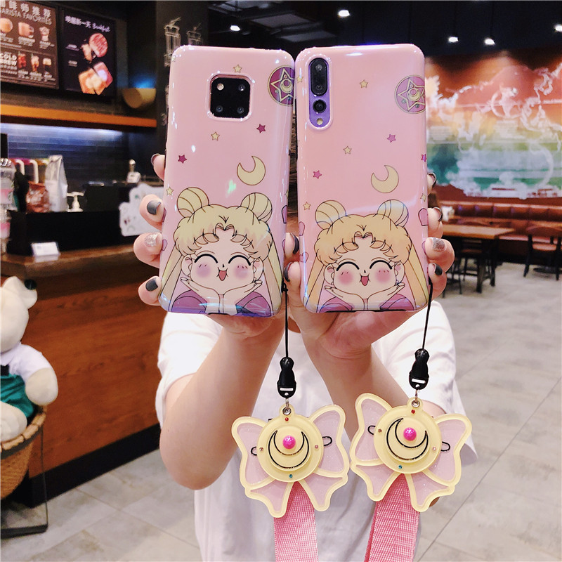 For Huawei P20 pro/ P30 pro case pink Sailor Moon phone cover honor 9/10 + make-up mirror strap Mate 10/20 pro girl gift Nova3/4For Huawei P20 pro/ P30 pro case pink Sailor Moon phone cover honor 9/10 + make-up mirror strap Mate 10/20 pro girl gift Nova3/4