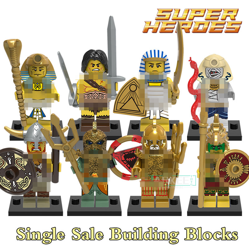 Educational Blocks  Medieval Egyptian Warrior Viking Barbarian Figures Super Hero Building Bricks Kids DIY Toys Hobbies X0161 building blocks agent uma thurman peeta dc marvel super hero star wars action bricks dolls kids diy toys hobbies kl069 figures