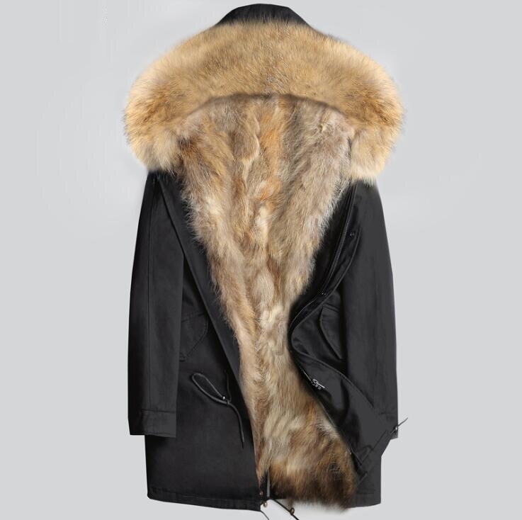 Gli uomini di Inverno Naturale Reale Della Pelliccia Parka Giacca di Vera Pelliccia di Procione Con Cappuccio Cappotti Neve Calda S1026-001