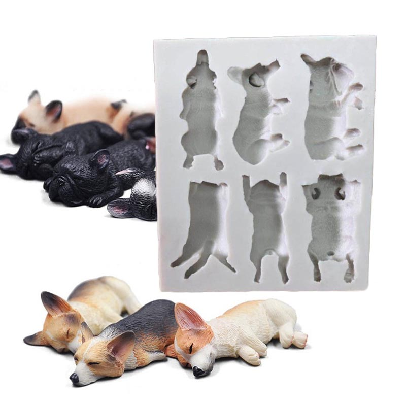 Dogs Mold Silicone Handmade Soap Clay Mould DIY Cake Chocolate Fondant Sugarcraft Candy Cookie Decor Molds Bakeware Baking Tool