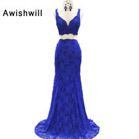 Robe de Soiree Longue Royal Blue Sexy V Neck Beadings Lace Prom Dress Party Gown Banquet Pageant Dress 2 Piece Evening Dress