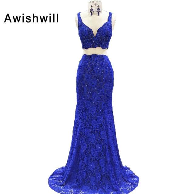 e4ad7f9a663 Robe de soirée Longue bleu Royal Sexy col en V perles dentelle Robe de bal  Robe