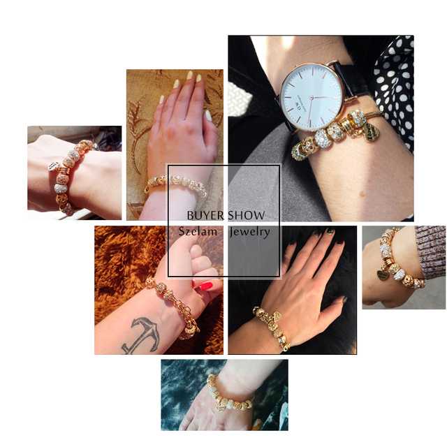 Luxury Crystal Heart Charm Bracelets & Bangles Gold Bracelets For Women Jewellery Pulseira Feminina