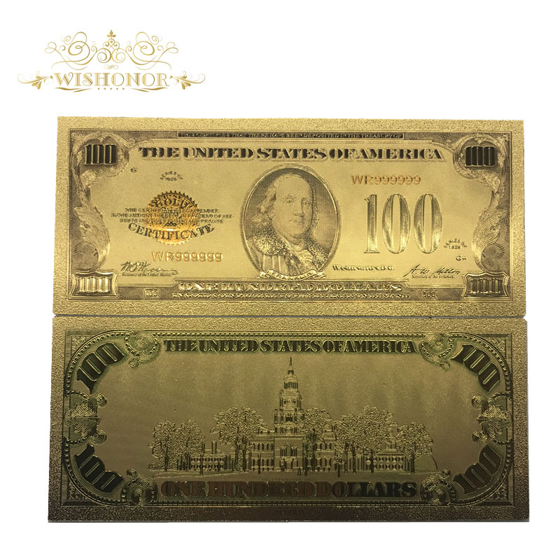 10pcs lot 1928 Year 39 s Edition Of American 100 Dollar Bill Metal Gold Foil Banknote Fake USD Currency Bank Note Free Shipping in Gold Banknotes from Home amp Garden