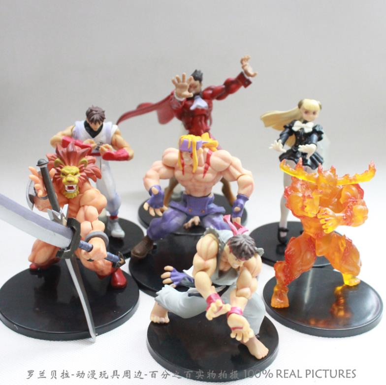 цена на Free Shipping Retail 1set Game Toys Capcom Street Fighter PVC Action Figure Ryu Alex M. Bison Figure Toys Dolls set of 7 MVFG008