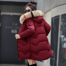 New 2019 Top Quality Women Parkas cotton Down Hats Winter Coat Fake Fur Hooded Jacket Thicken