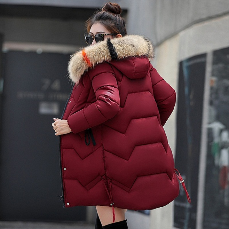 New 2019 Top Quality Women   Parkas   cotton Down Hats Women Winter Coat Fake Fur Hooded Winter Jacket Women Thicken Down Jacket