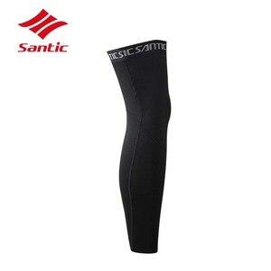 Image 2 - Santic Cycling Leg Warmers Men Winter Warm Fleece Bike Training Leg Sleeve Bicycle Cycling Legwarmers Leggings Black Ciclismo